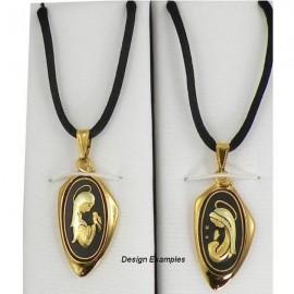 Damascene Gold Virgin Mary Oval Pendant style 8219-1