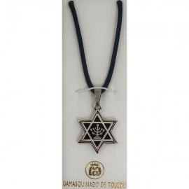 Damascene Silver Menorah Star of David Pendant