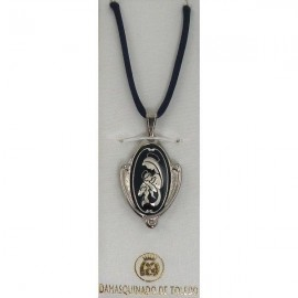 Damascene Silver Virgin Mary Oval Pendant style 9221-1