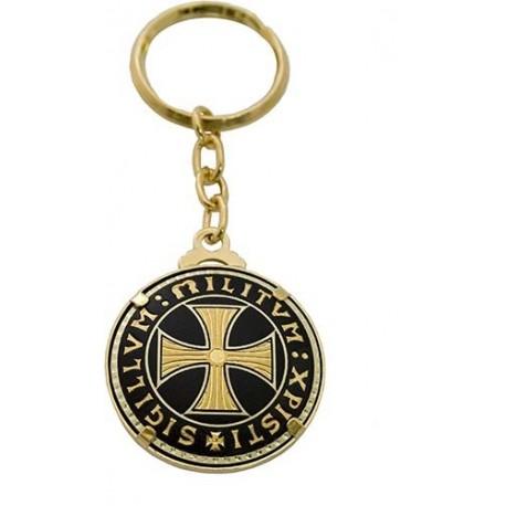 Damascene Templar Cross Keychain