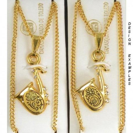 Damascene Gold Saxophone Pendant 402b72e4ab59