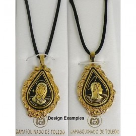 Damascene Gold Mary Teardrop Pendant