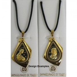 Damascene Gold Virgin Mary Pendant style 8218-1