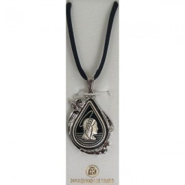 Damascene Silver Virgin Mary Teardrop Pendant