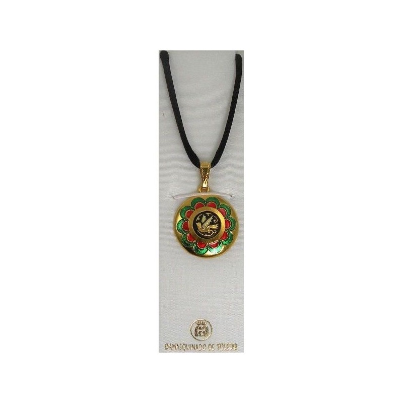 Damascene gold red green bird pendant aloadofball Images