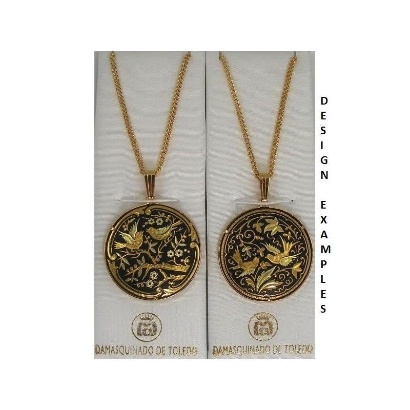 Damascene gold bird round pendant style 2241 mozeypictures Image collections