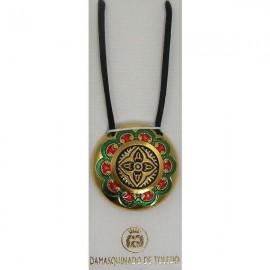 Damascene Gold Enamel Geometric Round Pendant