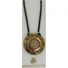 Damascene Gold Enamel Star Round Pendant