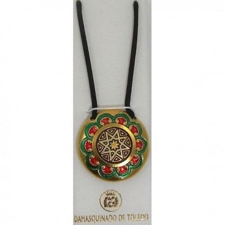 Damascene Gold Enamel Star Round Pendant