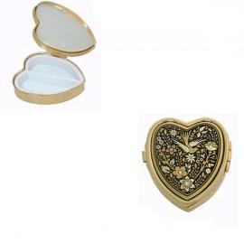 Damascene Gold Flower Heart Pill Box