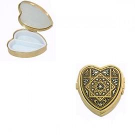 Damascene Gold Geometric Heart Pill Box