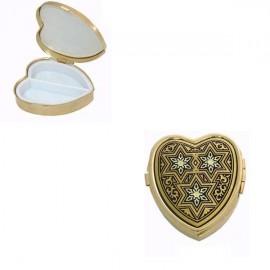 Damascene Gold Star Heart Pill Box