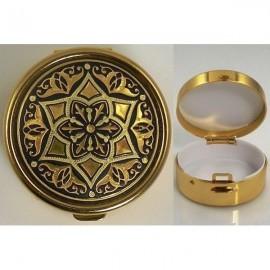 Damascene Gold Geometric Round Pill Box