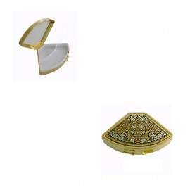 Damascene Gold Geometric Fan Pill Box