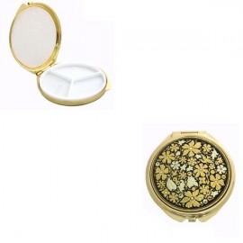 Damascene Gold Flower Round Pill Box
