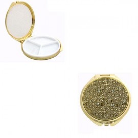 Damascene Gold Geometric Round Pill Box style 8503-3