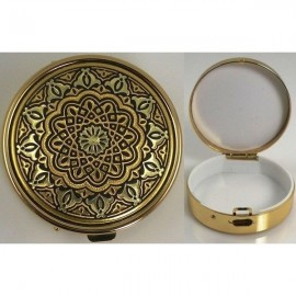 Damascene Gold Geometric Round Pill Box Style 8525