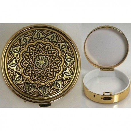 Damascene Gold Geometric Round Pill Box Style 8525