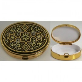 Damascene Gold Star Oval Pill Box