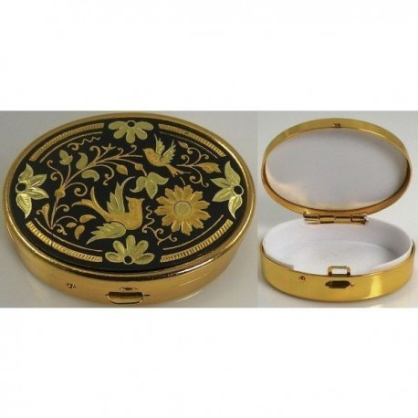 Damascene Gold Bird Oval Pill Box Style 8534