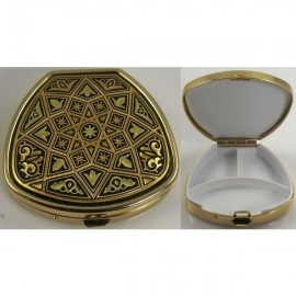 Damascene Gold Star Trapezoid Pill Box