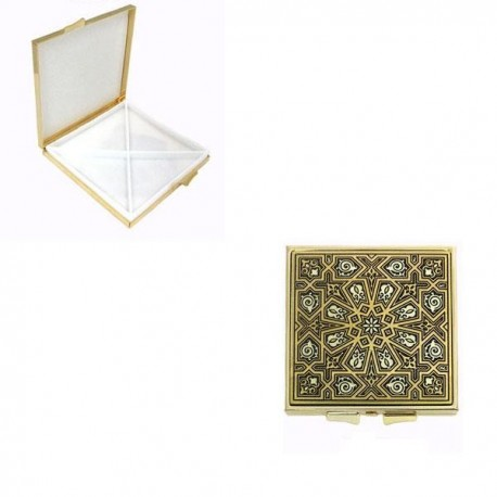 Damascene Gold Geometric Square Pill Box