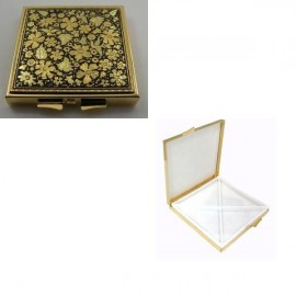 Damascene Gold Flower Square Pill Box