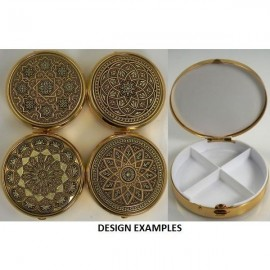 Damascene Gold Geometric Round Pill Box Style 8531