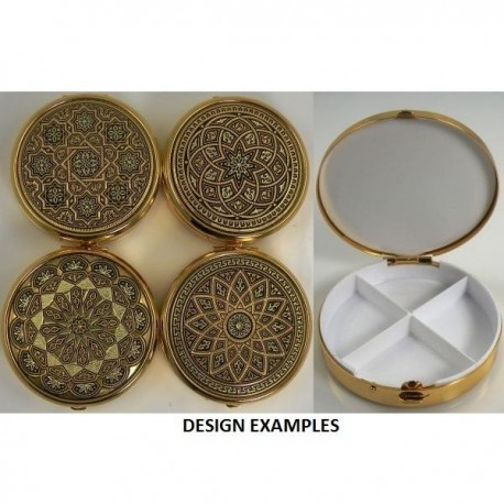 Damascene Gold Geometric Round Pill Box Style 8531