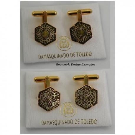 Damascene Gold Mens Cufflinks Hexagon Geometric