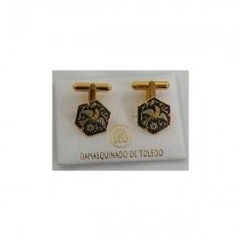 Damascene Gold Mens Cufflinks Hexagon Bird