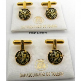 Damascene Gold Mens Cufflinks Round Bird
