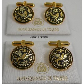 Damascene Gold Mens Bird Round Cufflinks