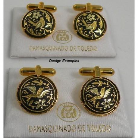 Damascene Gold Mens Bird Round Cufflinks
