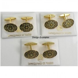 Damascene Gold Mens Cufflinks Oval Star