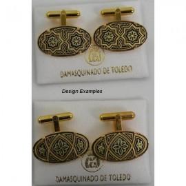 Damascene Gold Mens Cufflinks Oval Geometric style 2501