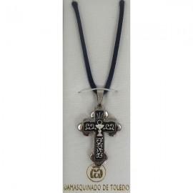 Damascene Silver Cross Chalice Pendant style 9236