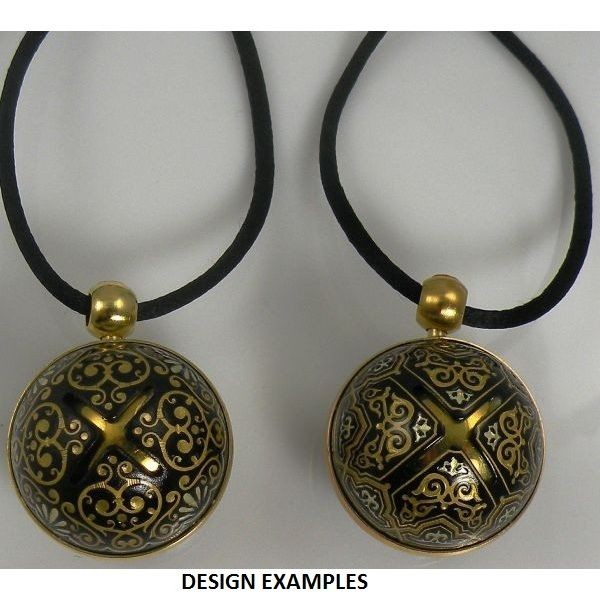 Damascene gold geometric sphere angel caller pendant mozeypictures Choice Image