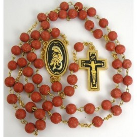 Damascene Gold Jesus Red Rosary