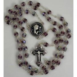 Damascene Silver Jesus Rosary Black Beads