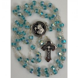 Damascene Silver Chalice Rosary Teal Beads