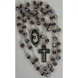 Damascene Silver Chalice Rosary Purple Beads