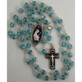 Damascene Silver Jesus Rosary Teal Beads