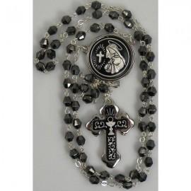 Damascene Silver Chalice Rosary Black Beads