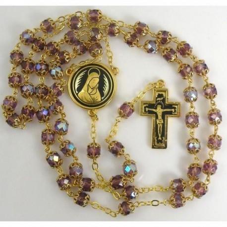 Damascene Gold Jesus Rosary Purple Beads