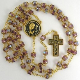 Damascene Gold Thorn Rosary Purple Beads