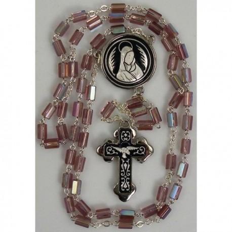 Damascene Silver Dove Rosary Purple Beads